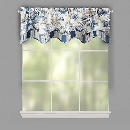 Traditions by Waverly Floral Stripe Porcelain Forever Yours Scallop Window Valance, 52-inch X (Waverly Stripes Valance)
