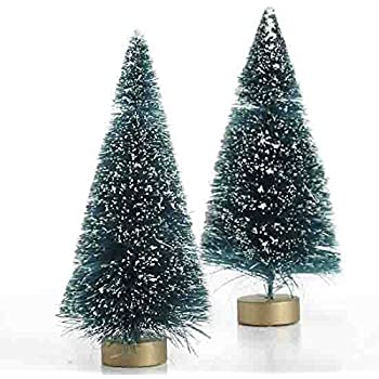 Package of 12 Miniature Frosted Sisal Bottle Brush Christmas Trees with Wooden Bases
