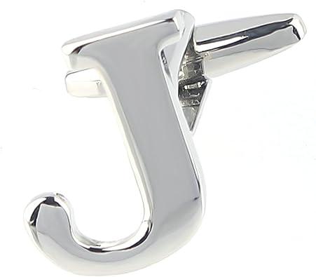 AnaZoz joyería latón Gemelos camisa inicial Inglés letras del alfabeto letra J plata para los hombres: Amazon.es: Joyería