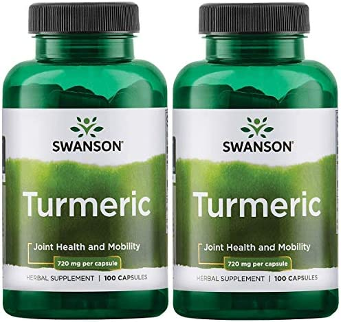 Swanson Turmeric Curcumin Antioxidant Joint Health Cardiovascular Liver Detox Mood and Memory Support Supplement Curcuma Longa Rhizome 1.44 Grams 1440 mg 100 Capsules 2 Pack