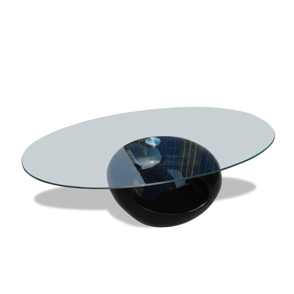 VidaXL Couchtisch mit ovaler Glasplatte Beistelltisch Hochglanz Schwarz