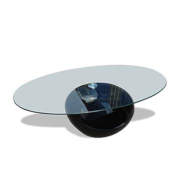Vidaxl Couchtisch Mit Ovaler Glasplatte Beistelltisch Hochglanz