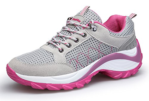 KOUDYEN Zapatillas Deportivas de Mujer Running Sneakers Respirable Zapatos Gris
