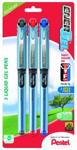 (Pentel EnerGel NV Liquid Gel Pen, 0.5mm,  Needle Tip, Assorted Ink, Pack of 3 (BLN25BP3M))