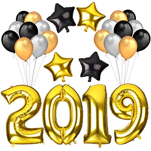 Konsait 2019 New Year Balloons Decoration, 40Inch Number 2019 Gold Foil Balloons Large, 18Inch Mylar Foil Star Balloon, Black Silver Latex Balloons for 2019 Christmas New Years Eve Party Supplies