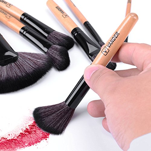Vander Synthetic Kabuki Foundation Blending Makeup Brushes Kit with Bag - Wood