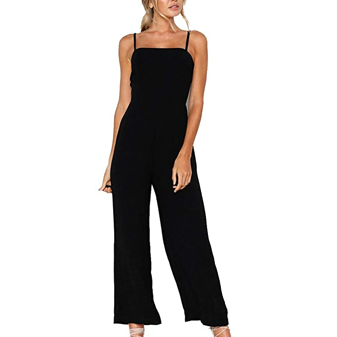 KYLEON Womens Rompers Jumpsuits Strap High Waist Solid ...