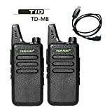 TIDRADIO TD-M8 Mini Walkie Talkie RFS Two Way Radio Compatible with Baofeng (2 PCS) With 1 Free Program Cable