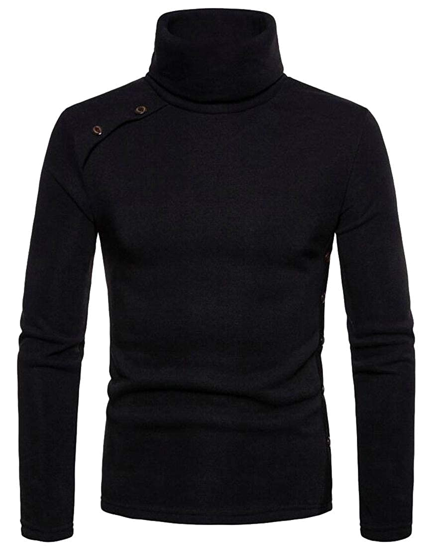 jiejiegao Men's Turtleneck Blouse Long Sleeve Solid Color Slim Fit Sweatshirt