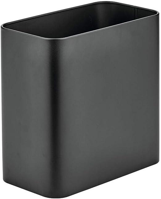 Gray Rectangular Stone Waste Basket Bath Trash Can Garbage Bin Home Accessory
