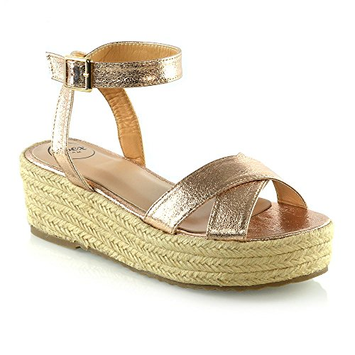 ESSEX GLAM Womens Espadrilles Ladies Champagne Metallic Cross Strap Platform Wedge Heel Sandals 6 B(M) US