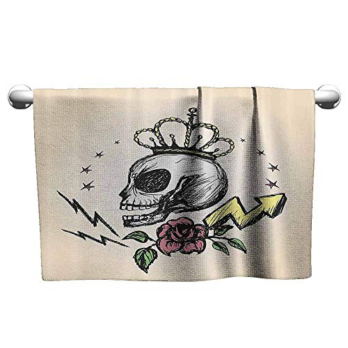 duommhome Skull Decor Beach Activity Bath Towel Mexican Folk Art Inspired Skeleton with Crown and Rose Halloween Artsy Design W10 x L39 Yellow Peach]()