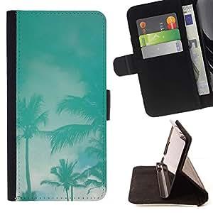 Momo Phone Case / Flip Funda de Cuero Case Cover - Palms Tormenta trullo Miami California Cielo - LG G4 Stylus H540