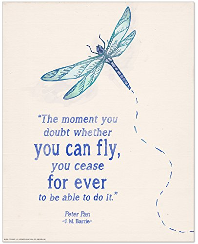 You Can Fly Children's Literature Inspirational Quote Poster for Home, Classroom or Library Featuring a Beloved J. M. Barrie Quote