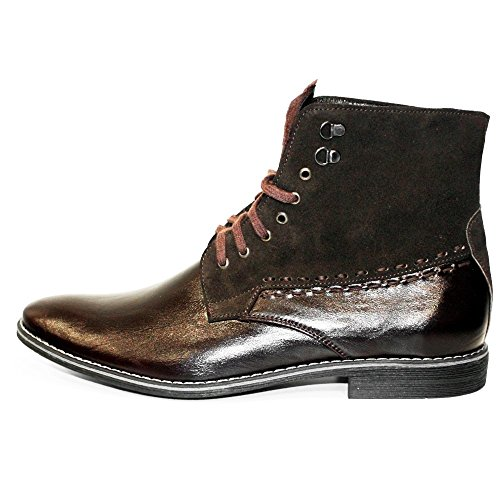 PeppeShoes Modello Cowbino - Handmade Italian Leather Mens Brown Ankle Boots - Cowhide Suede - Lace-Up P0dgX