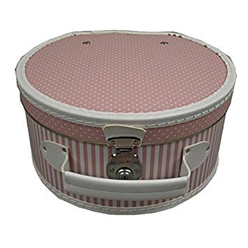 Hutkoffer Hutbox rund rosa weiß 40 cm: Amazon.de: Küche & Haushalt