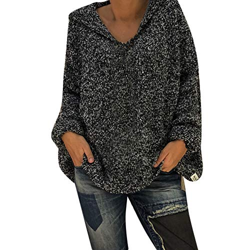 CUCUHAM Women Fashion Ladies Hooded Solid Blouse Pullover Winter Warm Tops Shirt(Gray ,US:8/CN:M) -