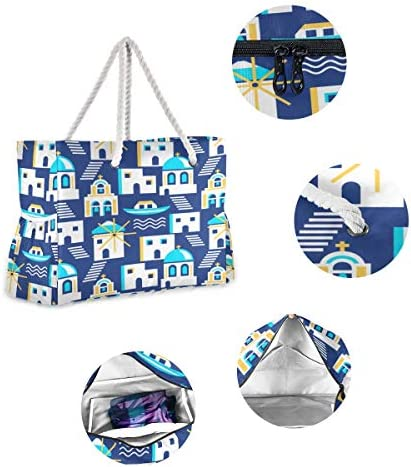 Beach Tote Bag For Men Black Pottery Ancient Greek Mythology Women Travel Bags Sturdy Beach Bag 20.5 X 7.3 X 15 Inch Zipper Closure With Cotton Handle For Picnics Travel Vacations