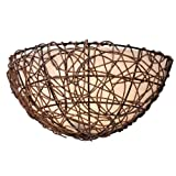 Kenroy Home 93300RAT Thicket 1-Light Wall Sconce, Rattan For Sale
