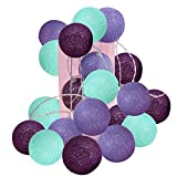 2.5m 20 LED Under The Sea Party Supplies/Mermaid Decor Mint Green Lavender Purple Cotton Balls String Lights Battery Operated Christmas LED Garland Party Decorative Lamp for Birthday Party Decor