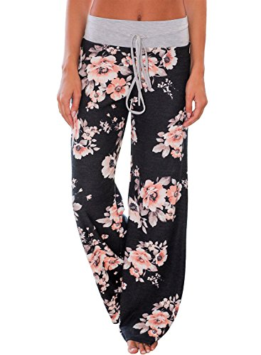Women's High Waist Floral Print Loose Casual Pants Leggings Large Multicolored