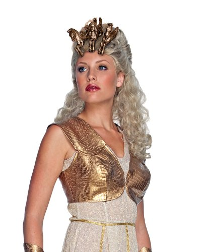 Secret Wishes  Costume Goddess Athena Wig and Headpiece, White/Gold, One Size