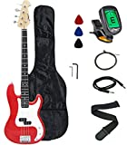 Crescent Electric Bass Guitar Starter Kit - Red Metallic Color (Includes CrescentTM Digital E-Tuner)