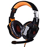 KOTION EACH G2000 Headband Game Headset Headphone with Mic Stereo Bass LED Light for PC Game (Orange + Black)- by E-Yippee