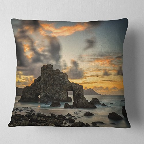 Designart CU9418-16-16 Yellow Atlantic Coast in Spain' Seashore Photo Throw Cushion Pillow Cover for Living Room, Sofa, 16 in. x 16 in, Pillow Insert + Cushion Cover Printed on Both Side by Designart
