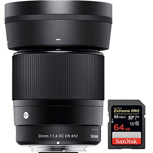Sigma 30mm F1.4 DC DN Lens for Micro 4/3 Mount (302963) with Sandisk Extreme PRO SDXC 64GB UHS-1 Memory Card by Sigma