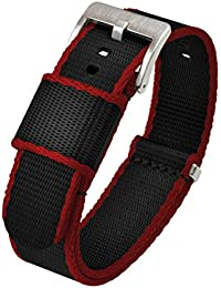 24mm Black/Crimson - Barton Jetson NATO Style Watch Strap - Stainless Steel Buckle - Seat Belt Nylon Watch Bands