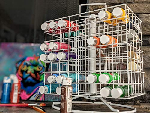 Craft Paint Storage Rack For 2oz Acrylic Paints, Revolving Acrylic Craft Paint Coated-Wire Caddy, Holds 112 2-Ounce Bottles, Portable (Paint Bottle Organizer)