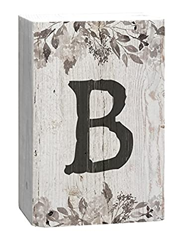 Letter B Floral White Distressed 4 x 5 Inch Solid Pine Wood Monogram Barnhouse Block Tabletop Sign - Sign Blocks Decor