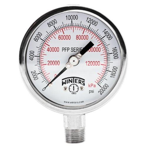 "Winters PFP Series Premium Stainless Steel 304 Dual Scale Liquid Filled Pressure Gauge, 0-20000 psi 4"" Dial Display, +/-1% Accuracy, 1/2"" NPT Bottom Mount"