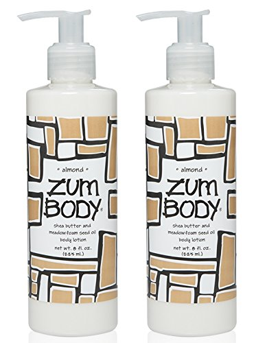 Zum Almond Body Lotion (Pack of 2) with Dandelion, Red Clover, Meadowfoam Seed Oil, Shea Butter, Aloe, Jojoba Oil, Sunflower Oil, Carrot Extract, Hibiscus Flower, Sweet Almond and Avocado, 8 oz (Sweet Butter Jojoba)