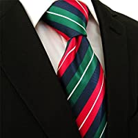 "Intrepid Executive Wardrobe Accessory , Handmade 100% Classic Silk Woven Alloy of Green Red Blue Stripes with White Accent Men's Neck Tie, (3.4"" Necktie)"