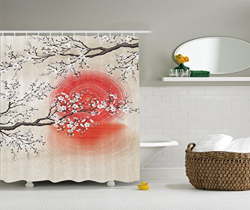 Ambesonne Japanese Garden Park Decor by, Sakura Cherry Trees Branches Leaves White Flowers in Spring Blossom Under the Red Sun, Polyester Fabric Bathroom Shower Curtain Set with - Shower Curtain Cherry Blossom