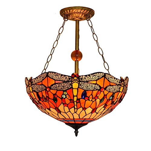 Tiffany Style Pendant Light 16-Inchy Pattern Decorative Stained Glass Hanging Lamp Hallway Bedchamber Club Anti-Chandelier, E27, Max40W3, BOSS LV, 110v