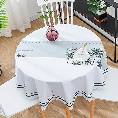 CAREXY Mantel Redondo PVC,plastico Vinilo Antimanchas Impermeable Resistentes Al Calor Mantel De Hule para Comedor Jardin Salon Banquete,A-135cm