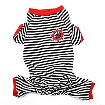 Padrão DealMux Anchor leme Bordado Pet Dog Doggie Stripe Sleepwear Camisa Roupa Pijamas Vestuário Tamanho L