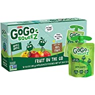 GoGo squeeZ Applesauce, Apple Apple, 3.2 Ounce (12 Pouches), Gluten Free, Vegan Friendly, Unsweetened Applesauce, Recloseable, BPA Free Pouches