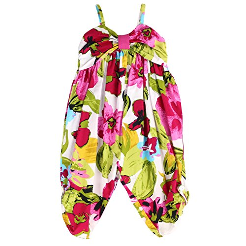 LELEFORKIDS Toddlers and Girls Fiji Jumpsuit Tropical Floral in Hot Pink 7/8