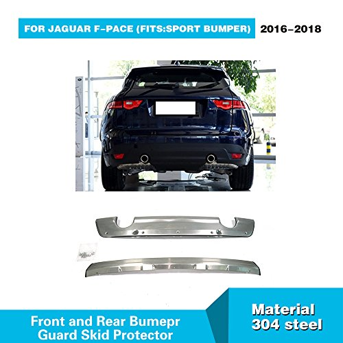 For Jaguar F-Pace 2016 2017 2018 MCARCAR KIT Stainless Steel Front and Rear Bumper Sill Plate Guard Protector Cover Trims by MCARCAR KIT