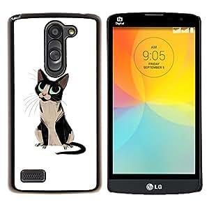 YiPhone /// Prima de resorte delgada de la cubierta del caso de Shell Armor - Cat Blue Eyes Negro Blanco Arte Dibujo Bigotes - LG L Prime D337 / L Bello D337