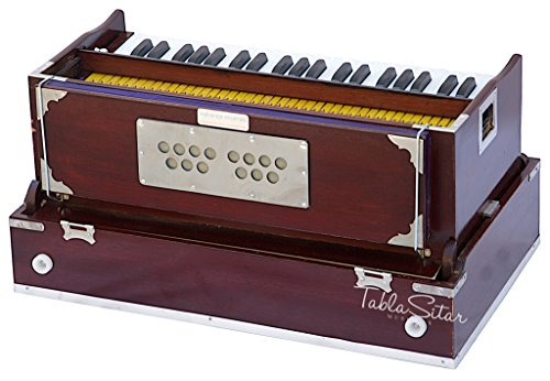 Maharaja Musicals, Folding Harmonium Instrument, In USA, 9 Stops, Rosewood  Color, Safri, 3 1/2 Octave, Coupler, Book, Bag, Tuned To A440, Musical