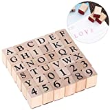 ULTNICE Alphabet Stamps Set Wood Stamp Rubber Number Letter Stamps 26 Capitalized Letters and 10 Numbers