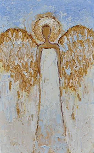 Angel Painting Abstract White Gold Silver Blue Wings Christmas Guardian Original Wall Art Hand Painted Oil Small Artwork 8x13 for Wall Kids Children Room Salon Bedroom