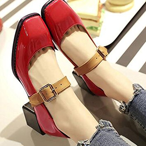 Easemax Womens Stylish Patent Stitching Buckle Straps Square Toe Low Top Mid Chunky Heel Pumps Shoes Red cNWwEs