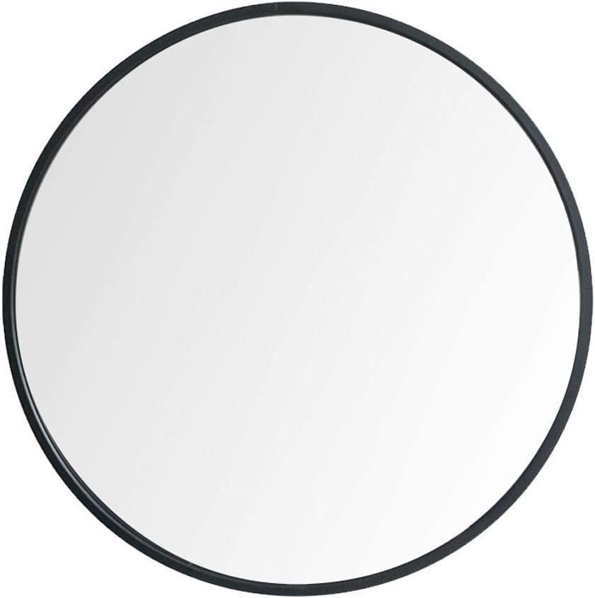 "Beauty4U 20"" Nordic Round Mirror Mid Century Modern Round Metal Frame Mirror Wall-Mounted Mirror Circle Bathroom for Wall, Black"