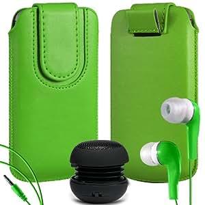 N4U Online Premium cuero de la PU del caso del tirón Tirar Tab cubierta de bolsa Con magnética Cierre de correa, Auricular Auriculares y mini altavoz portable para Nokia Lumia 525 - Verde